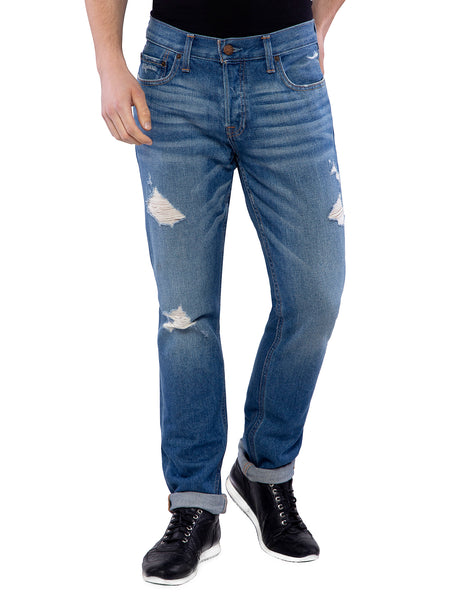 Hollister Men Blue Distressed Skinny Jeans