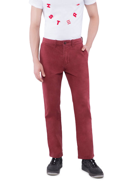 Hollister Men Maroon Chinos