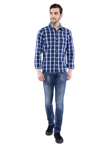 Hollister Men Blue White Checkered Shirt