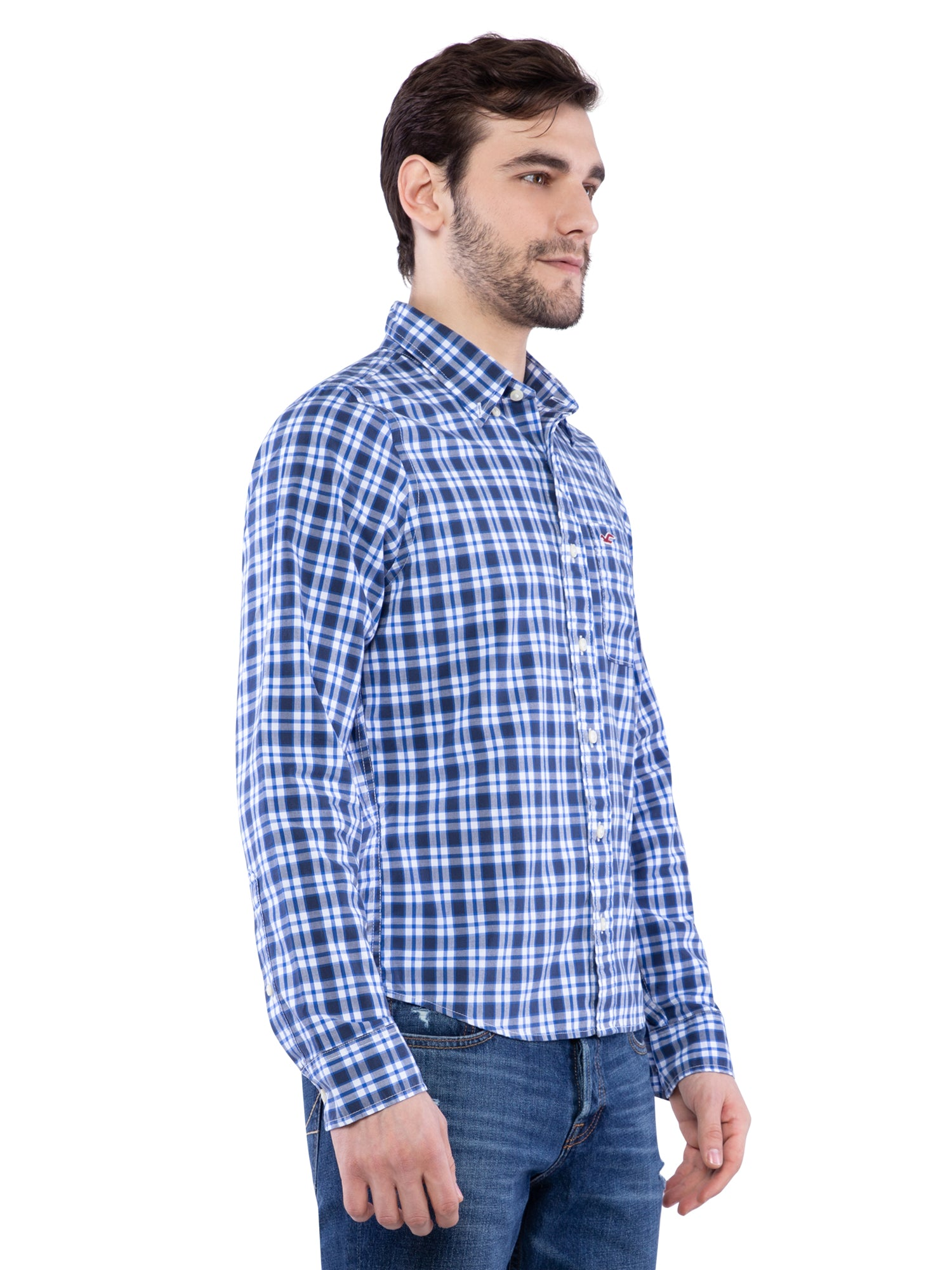 Hollister Men Blue Plaid Shirt