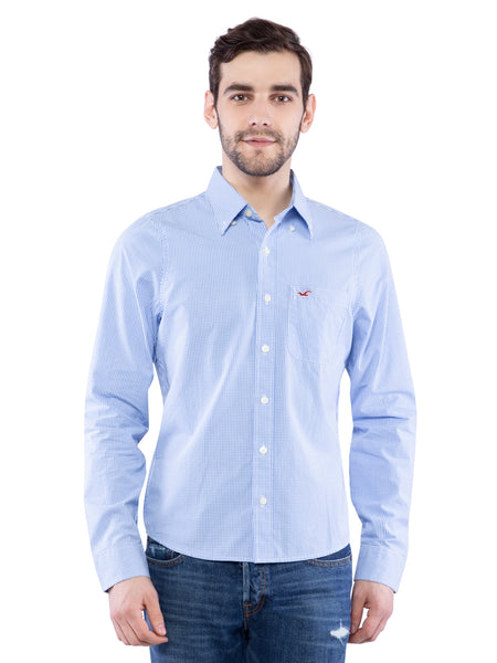Hollister Men Blue Small Check Pattern Shirt