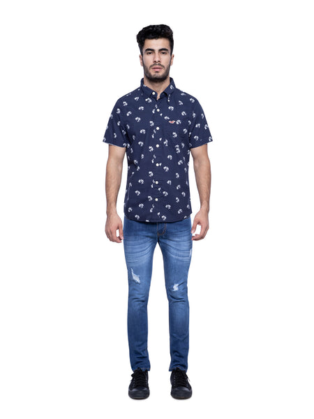 Hollister Men Blue Printed Shirt