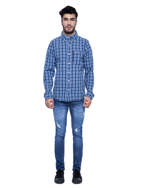 Hollister Men Dark Blue Checkered Shirt
