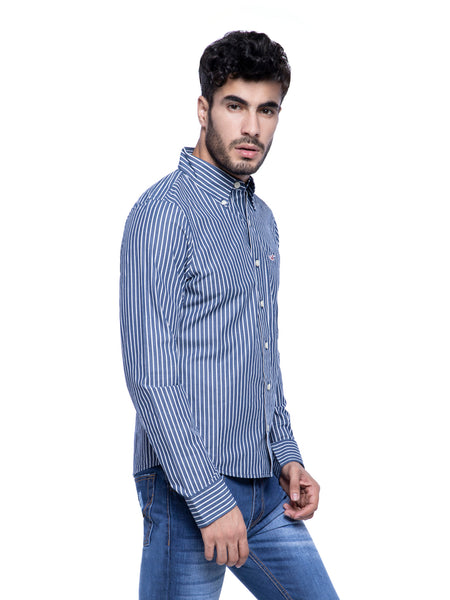 Hollister Men Blue Striped Shirt