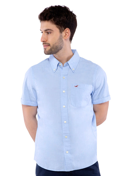 Hollister Men Light Blue Half Sleeve Shirt