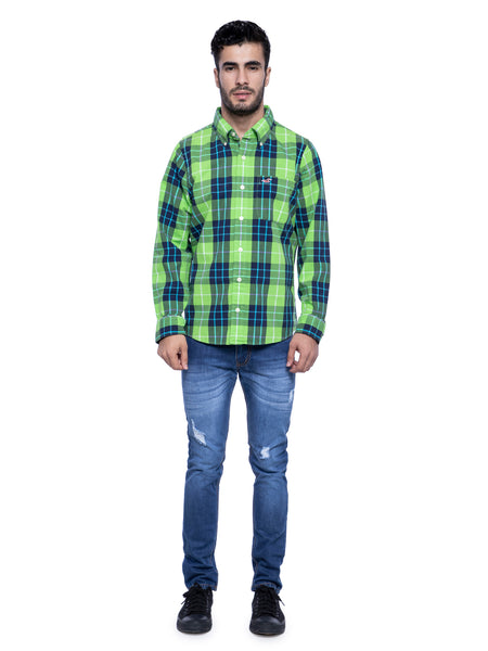 Hollister Men Green Plaid Shirt