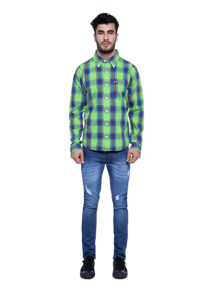 Hollister Men Green Blue Plaid Shirt