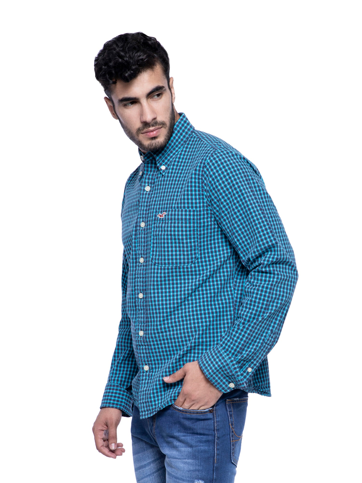 Hollister Men Turquoise Checkered Shirt