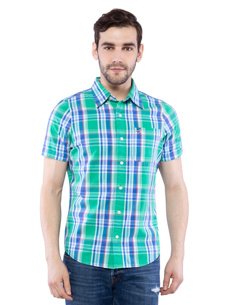 Hollister Men Green Half Sleeve Shirt