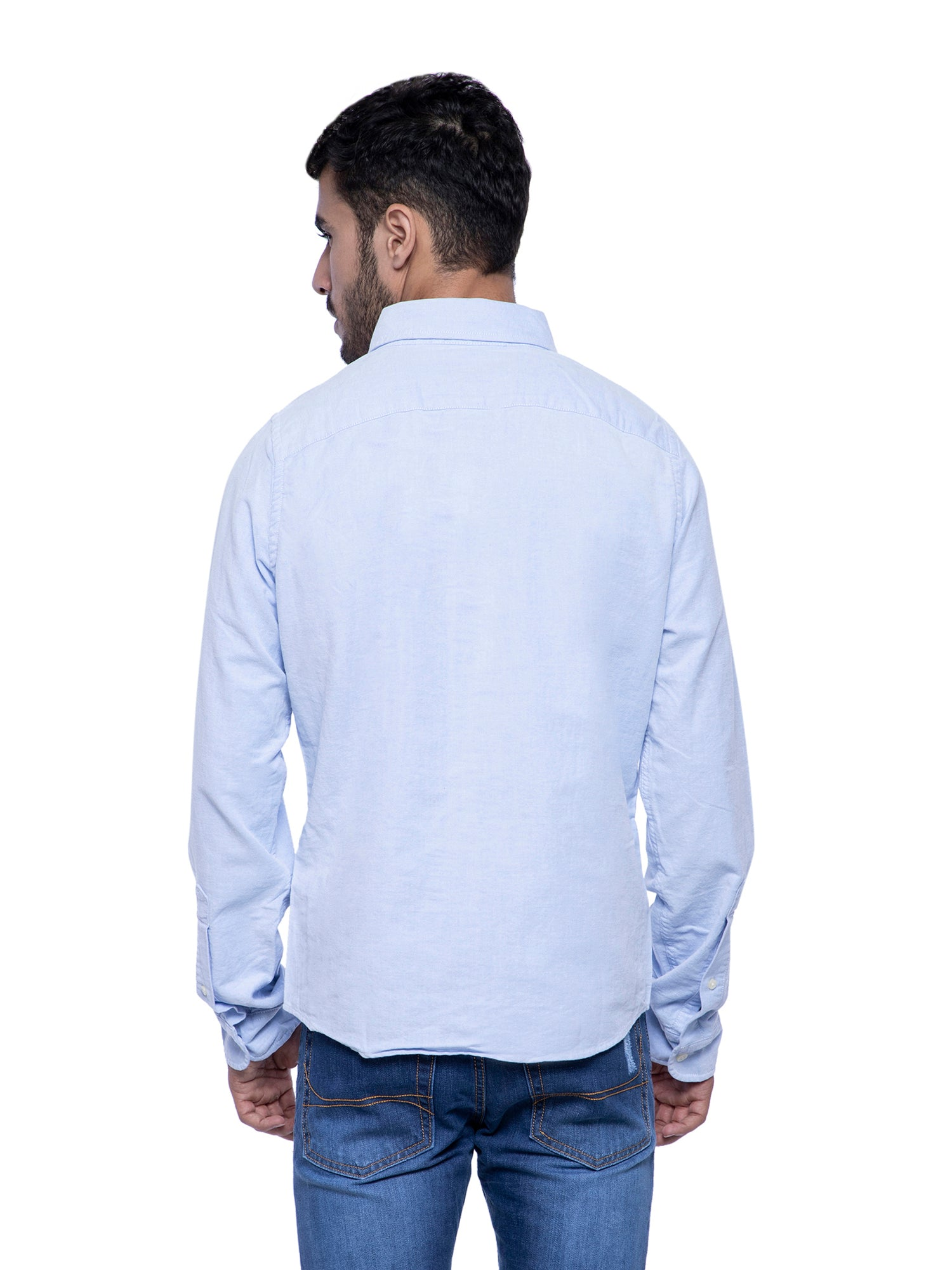 Hollister Men Light Blue Solid Shirt