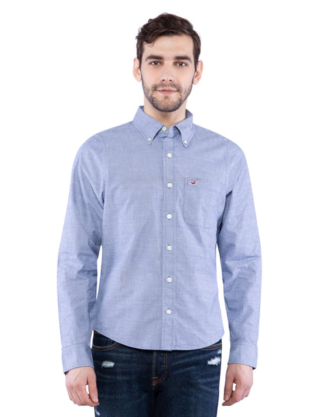 Hollister Men Blue Solid Shirt