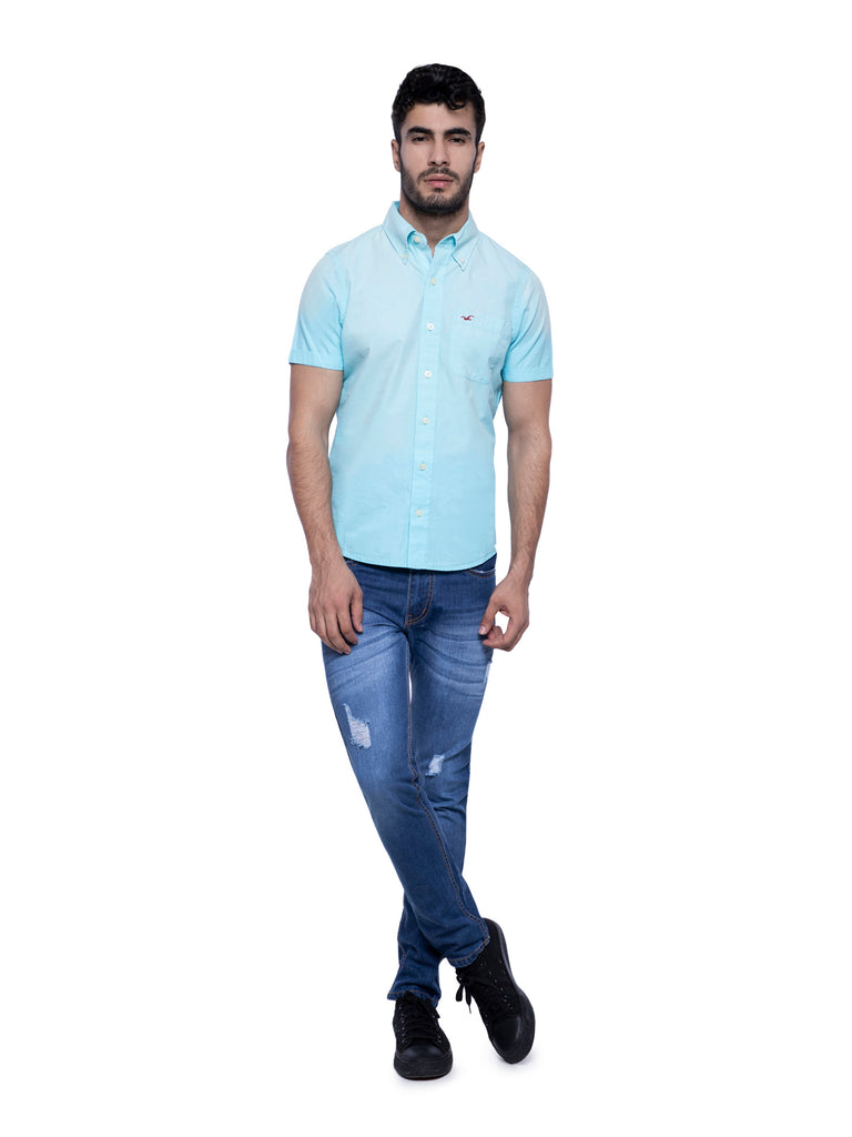 Hollister Men Sky Blue Half Sleeve Solid Shirt