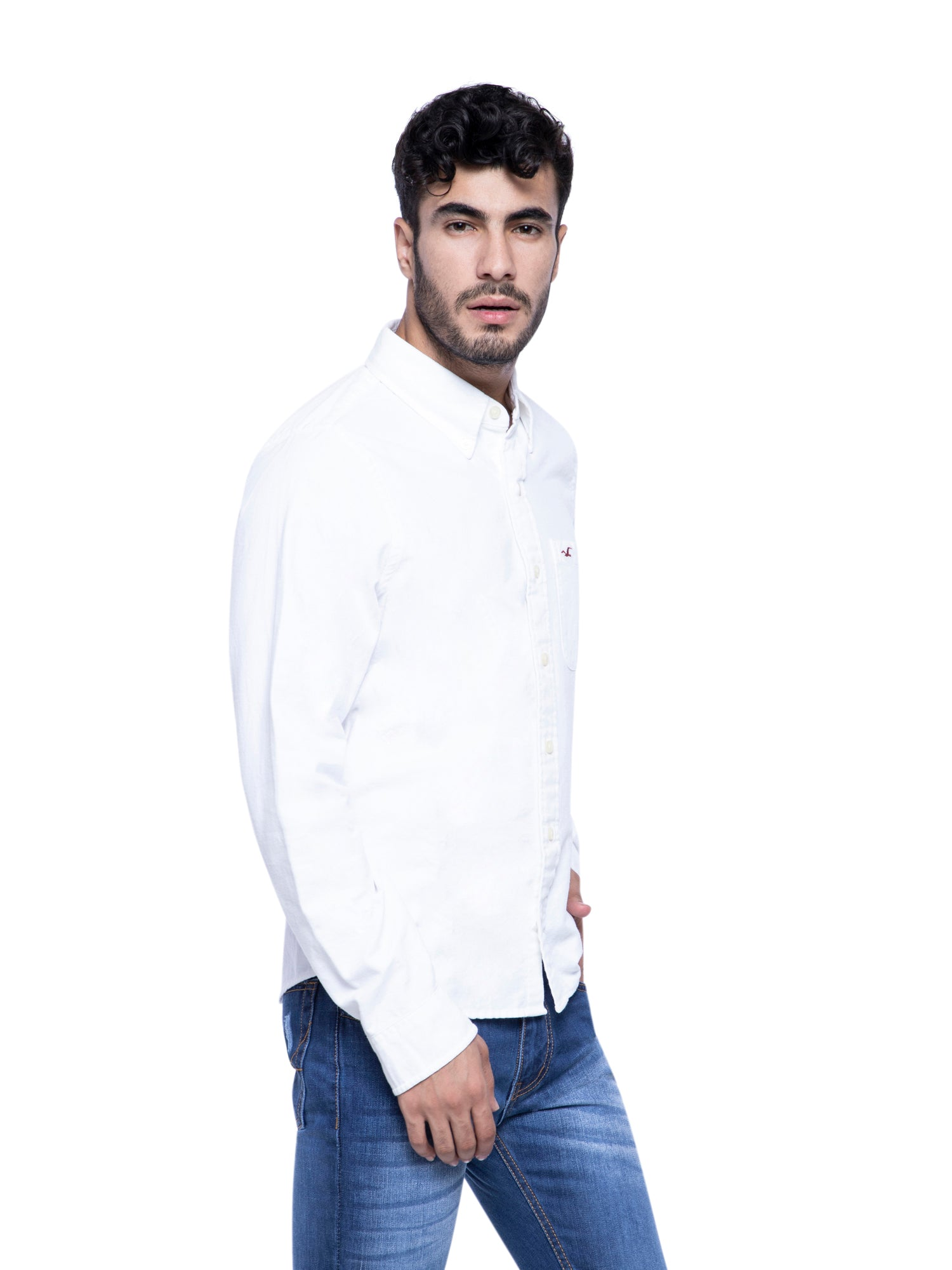 Hollister Men White Solid Shirt