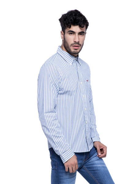 Hollister Men White Striped Shirt