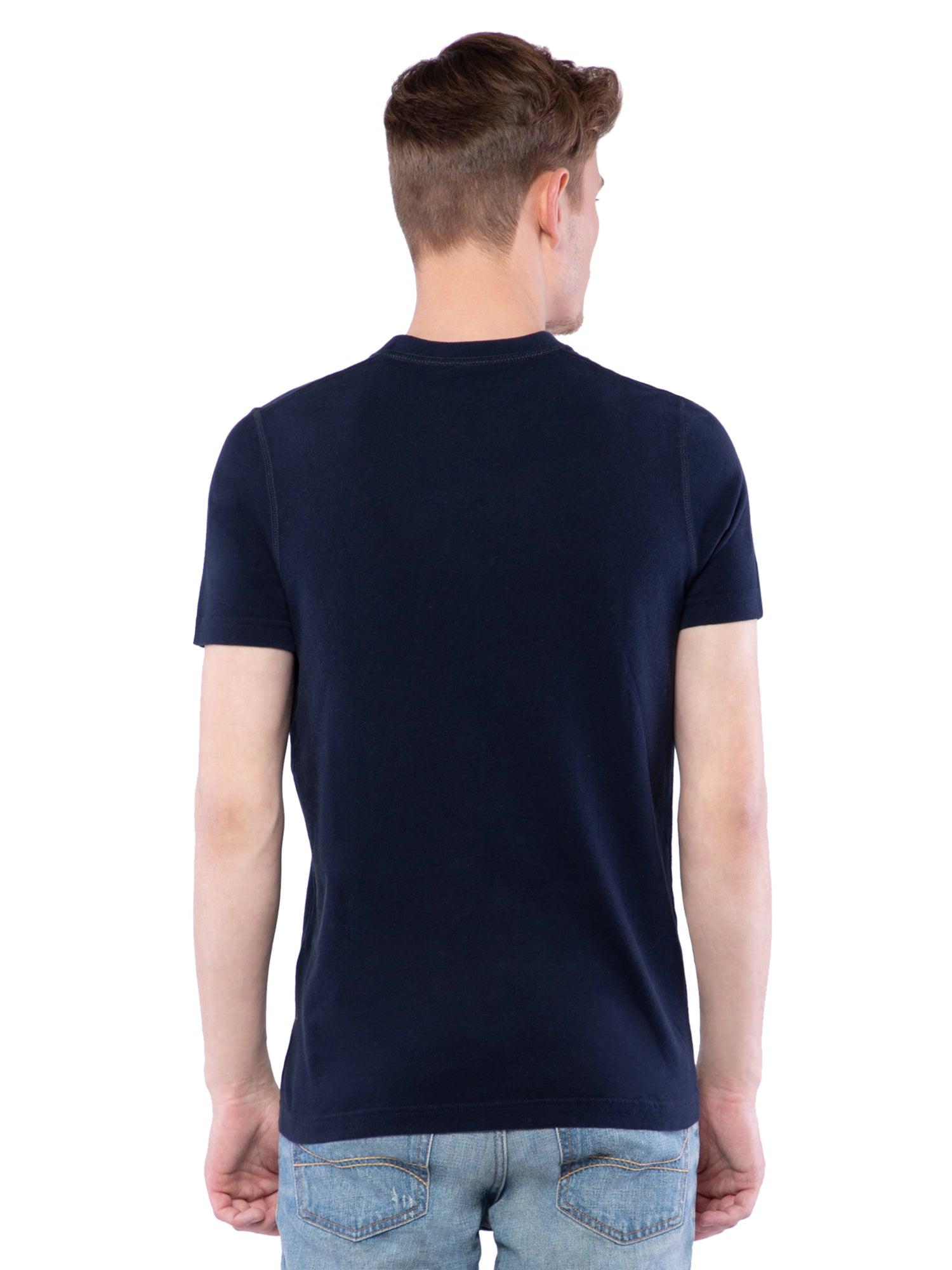 Hollister Men Black V-Neck T-Shirt