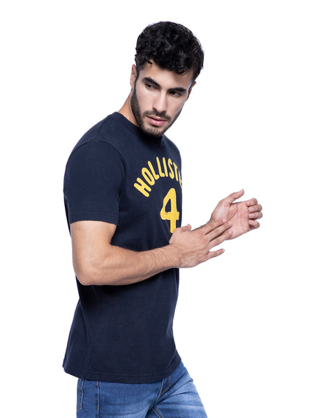 Hollister Men Black Applique Crew Neck T-shirt