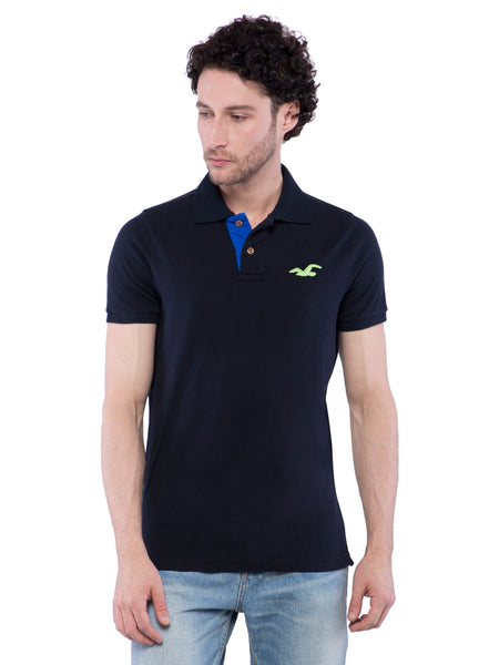 Hollister Men Black Stretch Pique Polo
