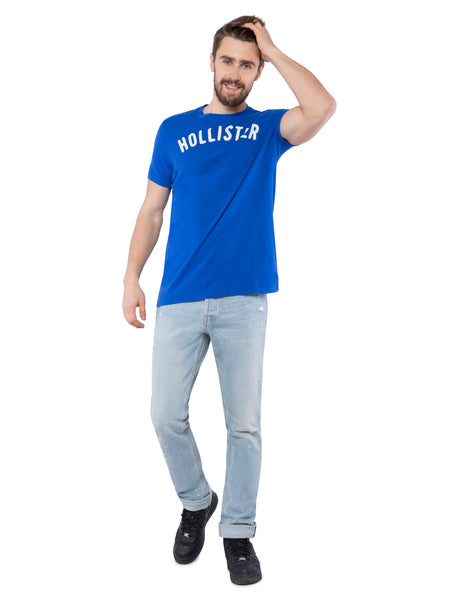 Hollister Men Blue Crew Neck T-Shirt