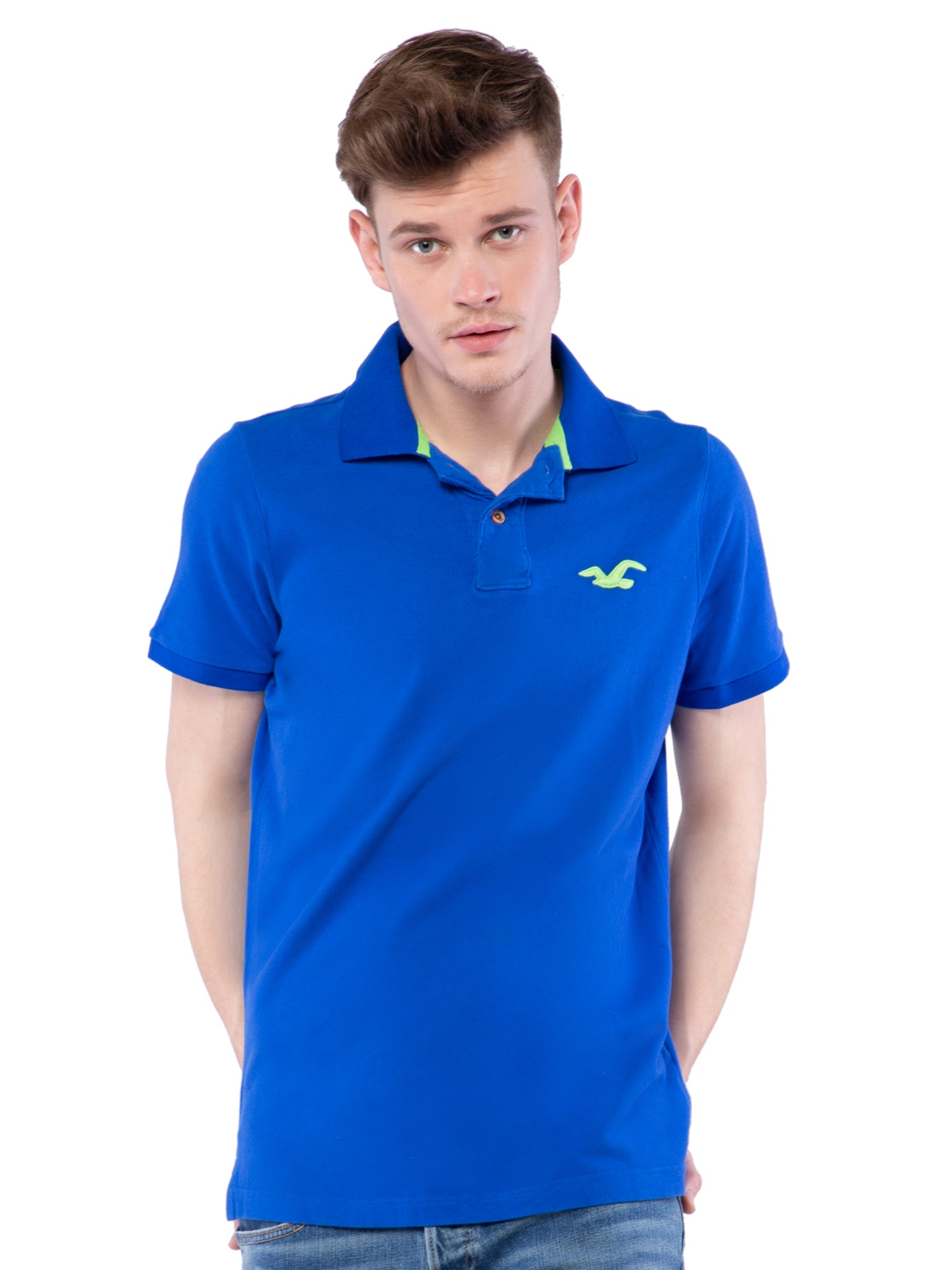 Hollister Men Blue Solid Stretch Pique Polo