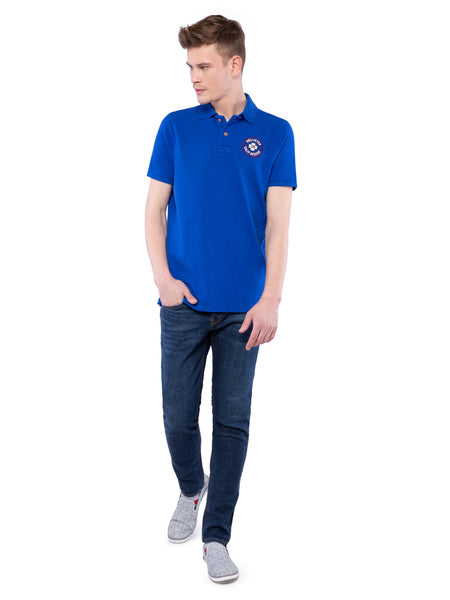Hollister Men Blue Stretch Pique Polo