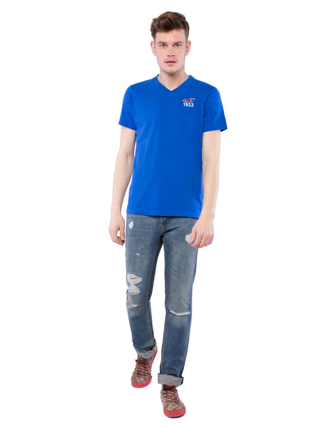 Hollister Men Blue Solid V-Neck T-Shirt