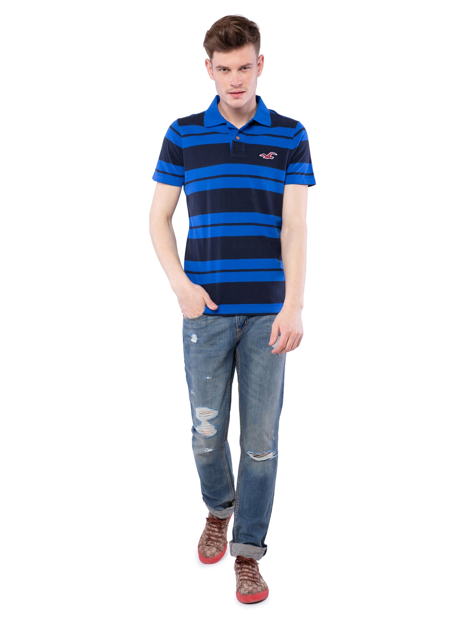 Hollister Men Blue Striped Stretch Pique Polo