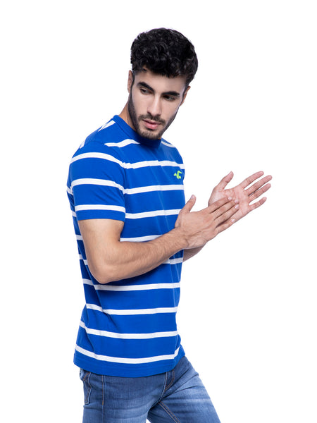 Hollister Men Blue Striped Crew Neck T-Shirt