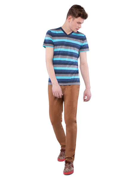Hollister Men Blue Striped V-Neck T-shirt
