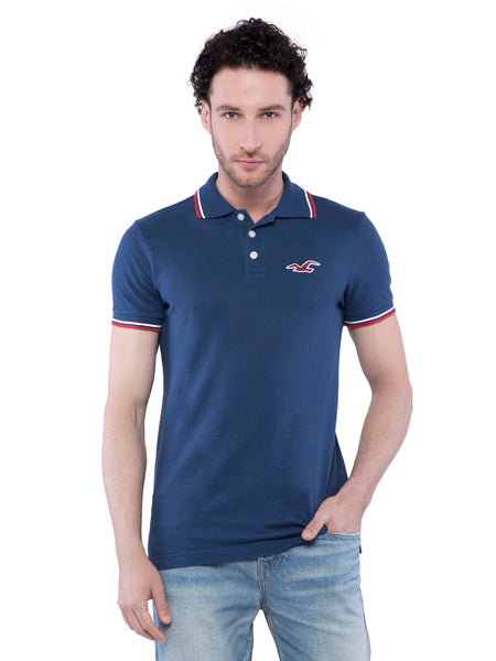 Hollister Men Dark Blue Stretch Pique Polo