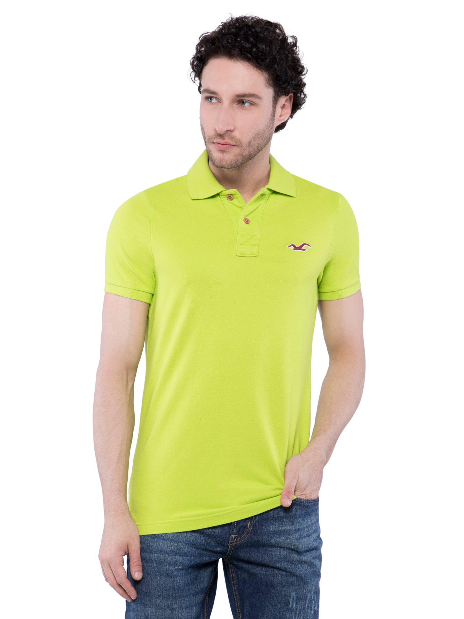 Hollister Men Light Green Solid Stretch Pique Polo