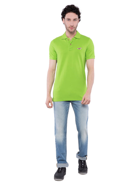 Hollister Men Green Stretch Pique Polo