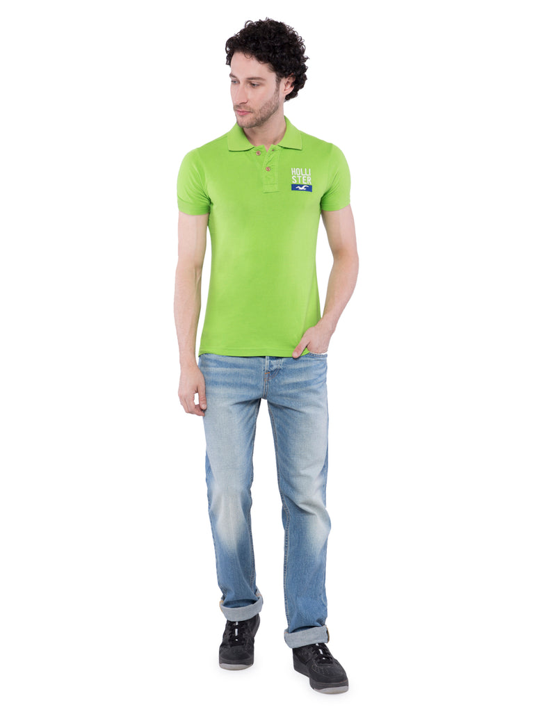 Hollister Men Green Solid Stretch Pique Polo