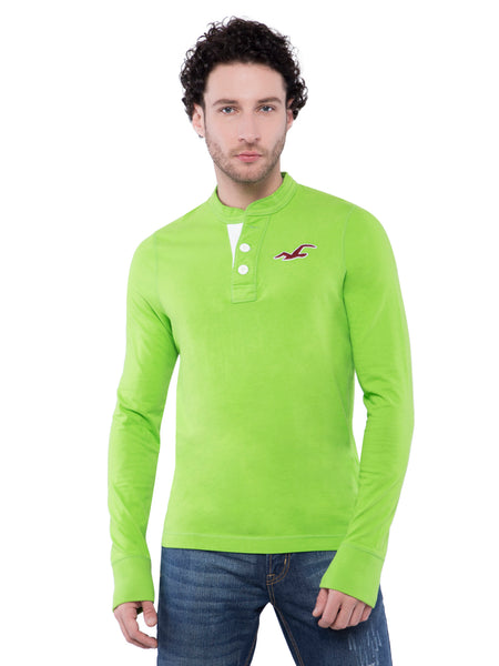 Hollister Men Green Henley T-Shirt