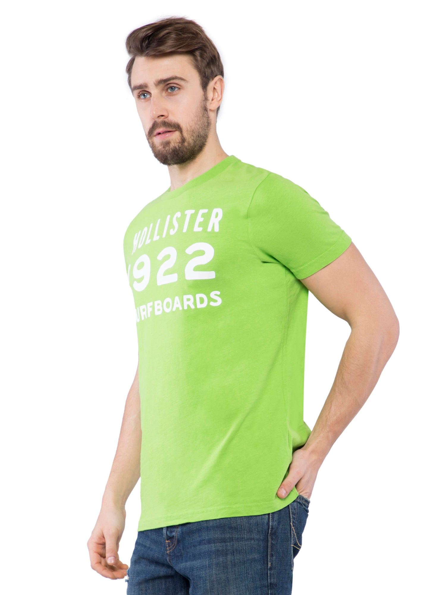 Hollister Men Green Crew Neck T-shirt