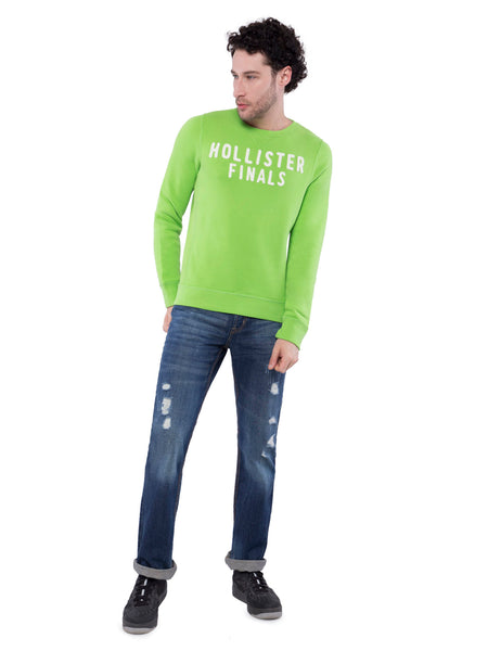Hollister Men Green Crew Neck Sweatshirt