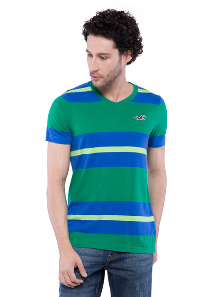 Hollister Men Pine Striped V-Neck T-shirt