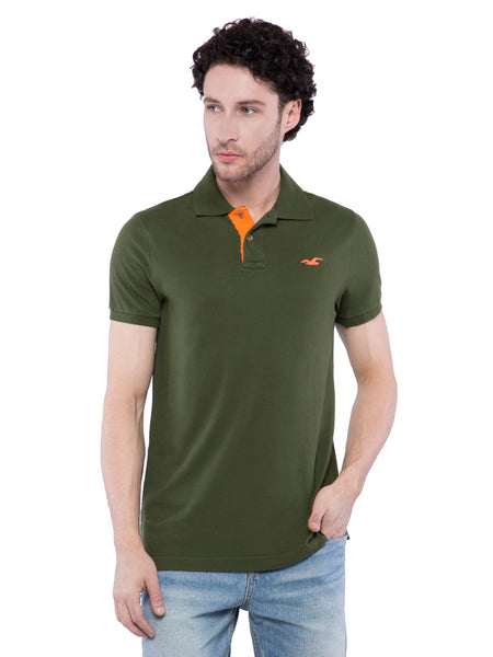 Hollister Men Dark Green Stretch Pique Polo