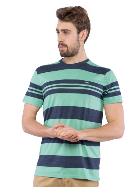 Hollister Men Green Striped Crew Neck T-Shirt
