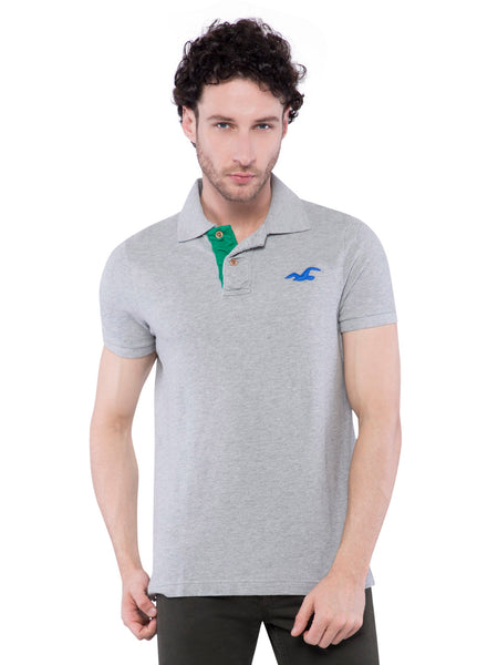 Hollister Men Grey Solid Stretch Pique Polo