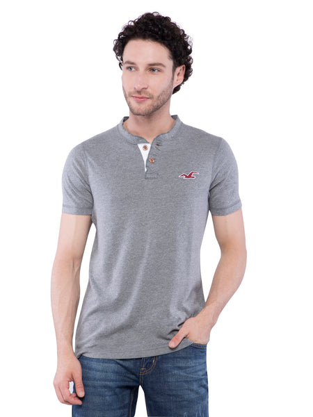 Hollister Men Grey Henley T-Shirt