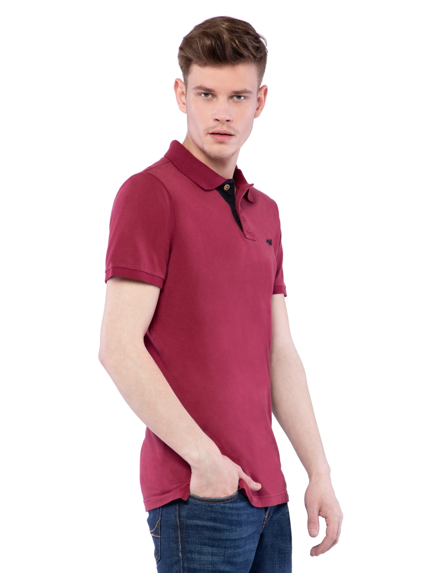 Hollister Men Maroon Stretch Pique Polo