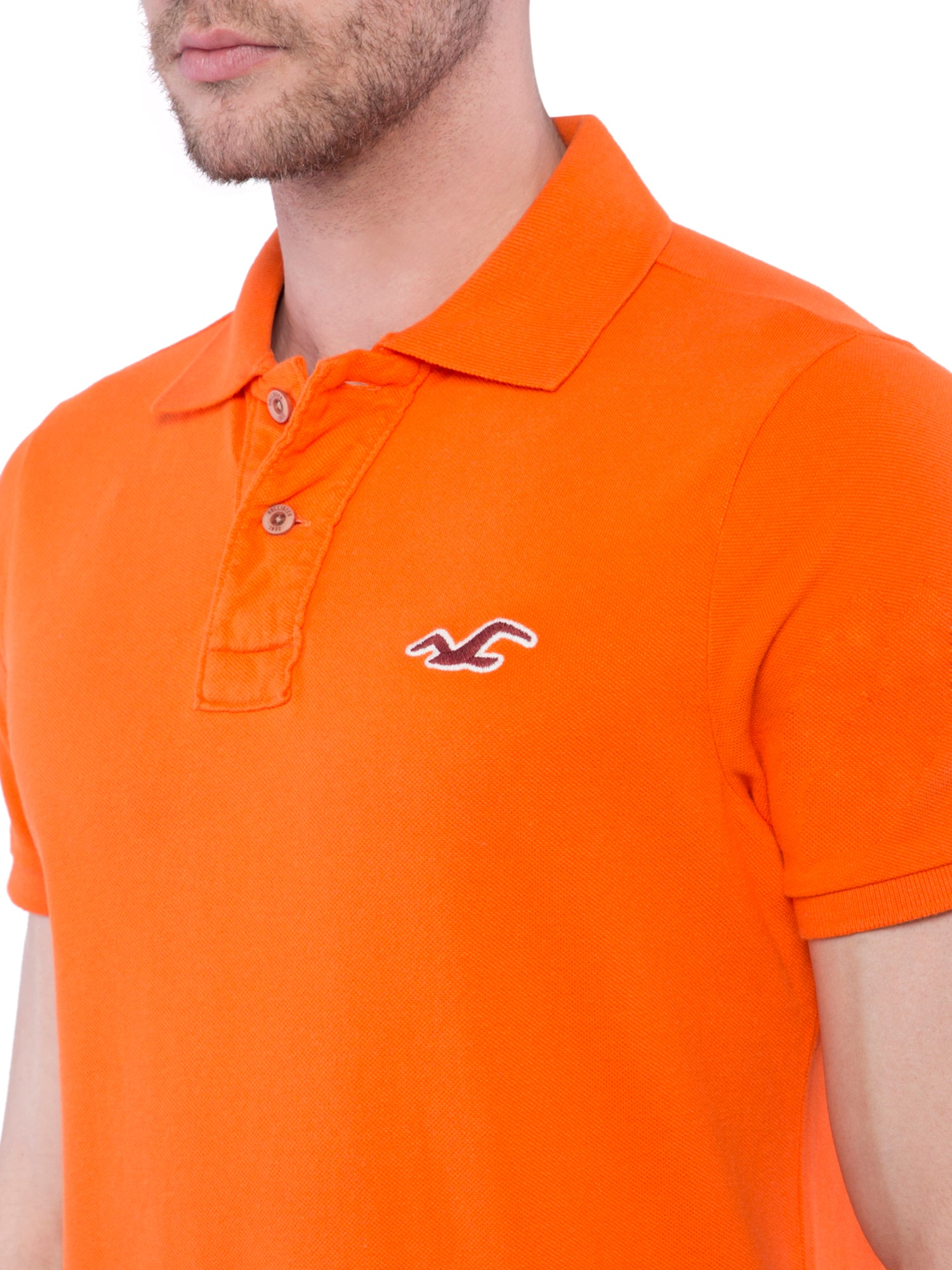 Hollister Men Orange Solid Stretch Pique Polo