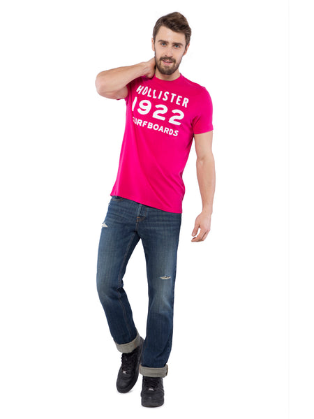 Hollister Men Pink Crew Neck T-Shirt