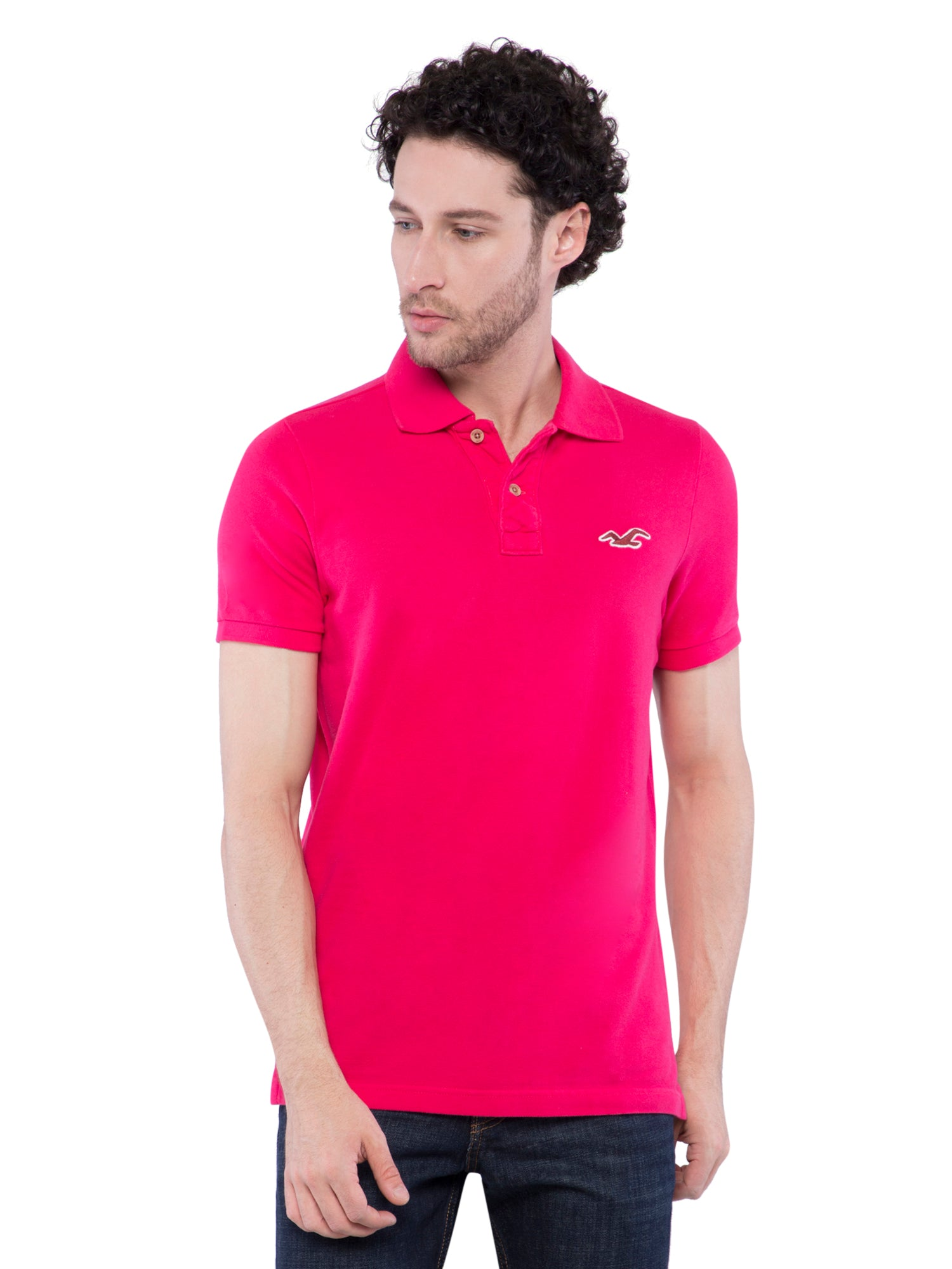 Hollister Men Pink Solid Stretch Pique Polo