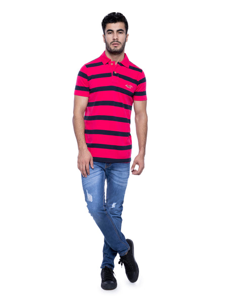 Hollister Men Pink Striped Stretch Pique Polo