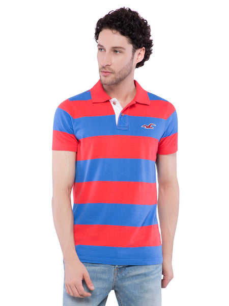 Hollister Men Red Striped Stretch Pique Polo