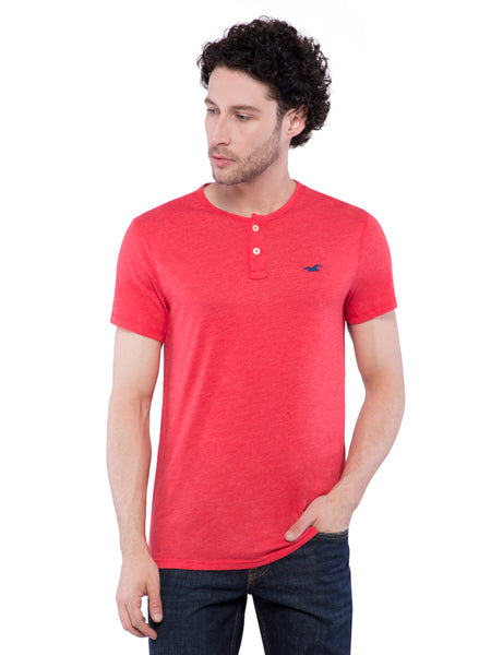 Hollister Men Strawberry Henley T-Shirt