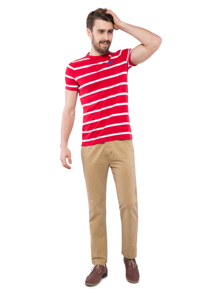 Hollister Men Red Striped Crew Neck T-shirt