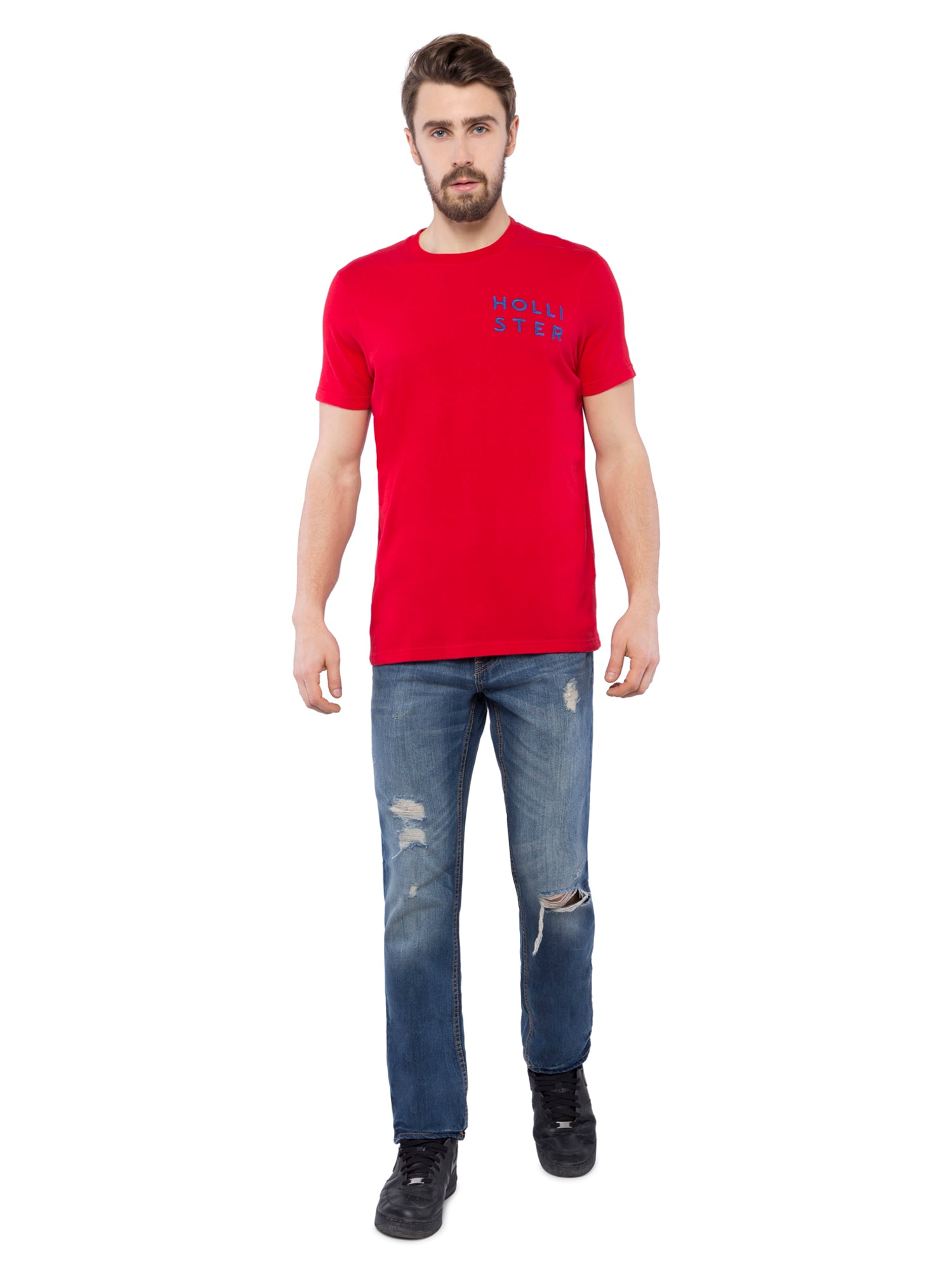 Hollister Men Red Solid Crew Neck T-shirt