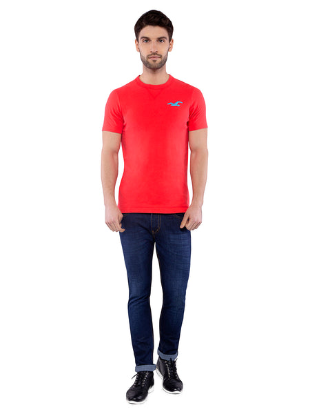 Hollister Men Red Crew Neck T-shirt